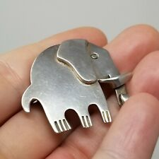 Good Luck Elephant Pin Brooch 13 00004000 .6g Vintage Mexico Solid Sterling Silver 925