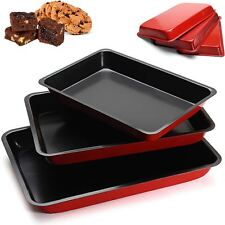 3 x Non Stick Baking Tray Square Rectangle Biscuit Brownie Cake Bake Pan Cookie