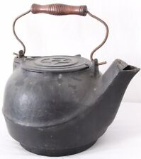 Antique Cast Iron Swivel Lid Bird Spout Wood Handle Tea Kettle Star 8 Pot
