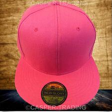 Snapback Baseball Plain Cap Funky Hip Hop SP Retro Classic Vintage Flat Hat Lot Hot Pink 4x