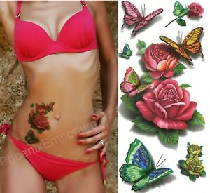Butterfly Rose Tattoos Temporary 3D Body Art Stickers Fake Ladies Red Waterproof