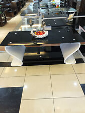 Designer Oval Coffee Table with Black Glass in White Wood and bottom glass base