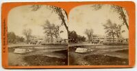 Monument Square Before the Fire  Leominster MA Vintage Stereoview Photo by Davis