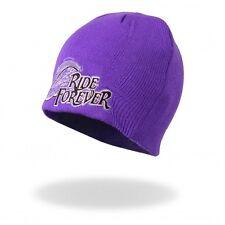 Women's Purple Ride Forever Wings Beanie, Winter Hat, Cap NEW Knit