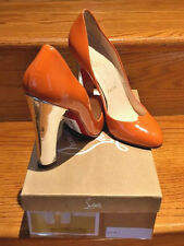 100% Authentic Christian Louboutin Peter Som Orange Patent Heels Size 38.5