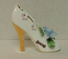 Small White Porcelain Ceramic Shoe Figurine Blue Flower Gold Trim Bone China