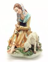 Cortese Lady with Sheep Capodimonte Porcelain Figurine Каподимонте фарфор 7""