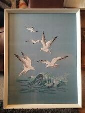 retro ,vintage seagull embroidery on linen
