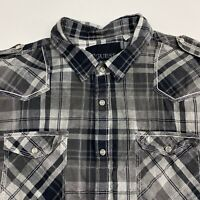 Guess Button Up Shirt Mens 2XL XXL Gray Short Sleeve Cotton Plaid Chest Pockets