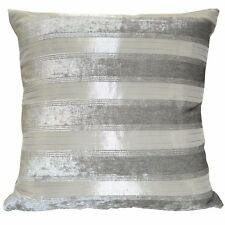 vb13a Olive Grey Pale Olive Grey Stripe Pattern Thick Cotton Blend Cushion Cover