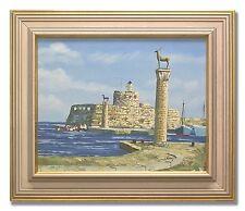 MEDITERRANNEAN SEA PORT - Original Art Oil Painting