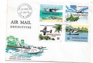 1970 Aircraft Air Mail definitives FDC set of 4 FDI 27 July Apia W. Samoa