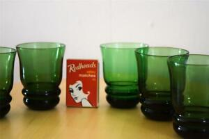 5 Vintage Green Glass Shot Glasses with Beehive Base - Art Deco look - 7cm high