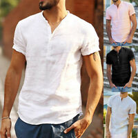 Luxury Mens Short Sleeve Shirts Linen Casual Formal Slim Dress t-Shirt Top Soft