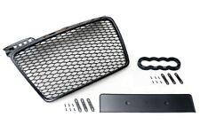 Pour Audi A4 B7 04-09 BADGELESS Mesh GRILLE DEBADGED Front Grill Gloss Black