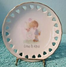 Vintage 1978 Precious Moments Sm Plate & Stand, Love Is Kind, Enesco Japan