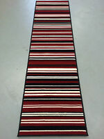 "Element Canterbury Hall Runner Red Black 60 x 220 cm (2 x 7'3"") Stripe Rug"