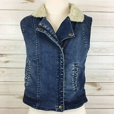 Daughters Of The Liberation Anthropologie Sherpa Lined Denim/Jean Vest. Small