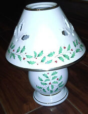 Lenox Holiday Tea Light Candle Lamp w Holly Leaves Design