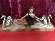 Bronze Bronzefigur Art Deco Erotik Frau mit Schwänen