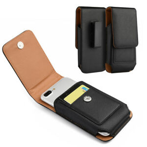 for LG Phones - VERTICAL BLACK Leather Pouch Card Holder Belt Clip Holster Case