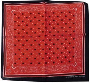 "Wholesale Lot of 3 Paisley Black White Stars Red 22""x22"" 100% Cotton Bandanna"