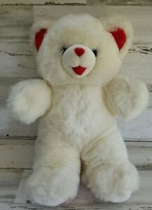 """Vintage 1999 Sweetheart Teddy - 18"""" White And Red Fluffy Valentine"""