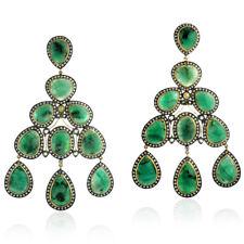 Emerald Diamond Chandelier Earrings Sterling Silver Women Jewelry
