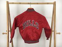 RARE VTG Chalk-Line Boy's Chicago Bulls NBA Red Satin Jacket Size YOUTH 6/8