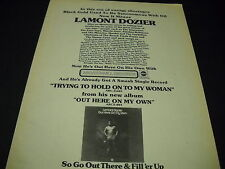 Lamont Dozier is Black Gold with Out Here On My Own 1973 Promo Display Ad mint