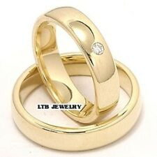 His & Hers 14K Yellow Gold Diamond Matching Wedding Bands Set Shiny 5mm
