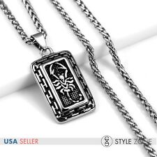 Vintage Men's Stainless Steel Cool Scorpion Dog Tag Pendant w Braid Necklace P27