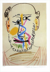 Pablo PICASSO Bald Head of Man Signed Giclee Art Print 20 x 13