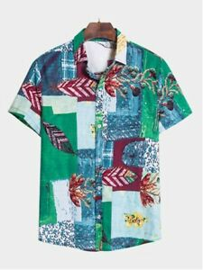MISSCOCA Men's Geometric Cotton Beach Shirt (size L)