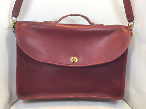 Vintage COACH Burgundy Red Leather Briefcase Bag 0227-227 Rare USA