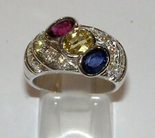 Anello oro 18KT rubino zaffiri diamanti ruby gold ring sapphires diamonds