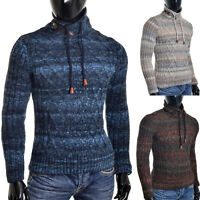 Mens Funnel Neck Sweater Winter Jumper Wool Blend Cable Knit Long Sleeve Striped