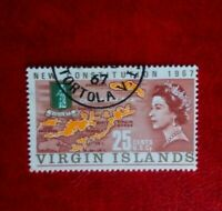 1967 QE11 BRITISH VIRGIN ISLANDS 25c POSTAGE STAMP new con used