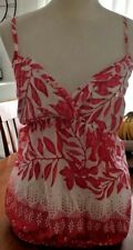 Ladies Top White Pink Cotton Blend Sleeveless Racer/Cross Back BLING VGUC-AS NEW