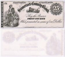 CIVIL WAR 25 CENT 1862 SOMERSET COUNTY BANK NJ Patriotic Scrip RARE!