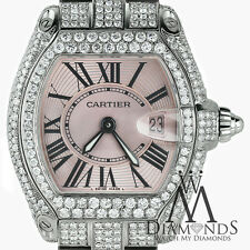 Pink Ladies Cartier Roadster W62016V3 SS Diamond Watch Complete w/ Box & Papers