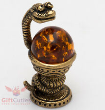 Solid Brass Amber Figurine of Snake Bowl of Hygieia symbol of pharmacy IronWork