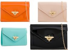 WOMENS LADIES PARTY WEDDING PATENT LEATHER CLUTCH BAG HANDBAGS SHOULDER CHAIN