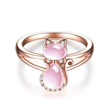 Rose Gold Pear Cut Rose Quartz Ring Cute Kitty Cat Shape Women Fashion Jewelry