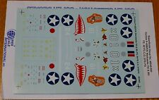Microscale Decal 1:48 Scale #MS48-900 Curtiss P-40E/F/K Warhawks 7th & 9th FS.