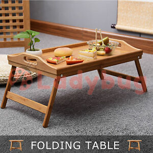BAMBOO FOLD UP LAP TRAY Tea Coffee Table Wooden Breakfast in Bed SERVING TRAY