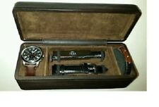 FOSSIL 5 PC SET SILVER,BLACK+BROWN LEATHER BAND+BRACELET,COLOGNE+WATCH FS5125
