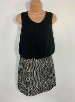 WOMENS NEXT BLACK&WHITE PATTERN SLEEVELESS FORMAL PARTY SHIFT DRESS SIZE UK 12