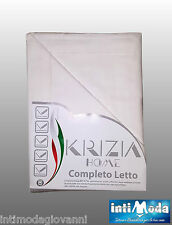 Completo Letto Singolo 1 piazza Bianco Lenzuola Sopra Sotto Federa Cotone