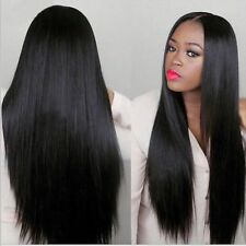 Natural Long Straight Natural Black Heat resistant Synthetic Lace Front Wig 24""